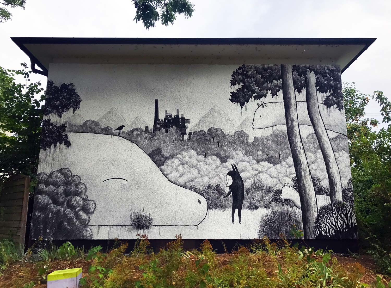 Wandgemälde von Limow auf dem Metropolis Festival