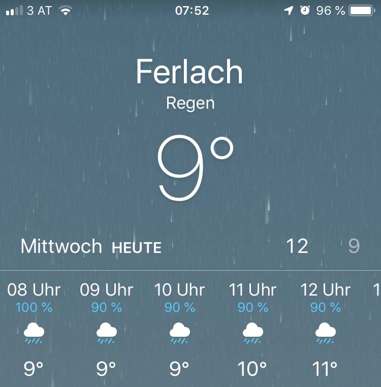 Screenshot Wetterapp Handy fuer Ferlach