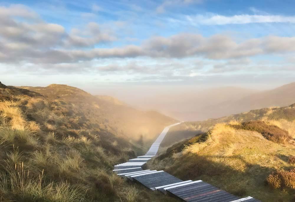Holzbohlenweg durch die Duenen auf Sylt